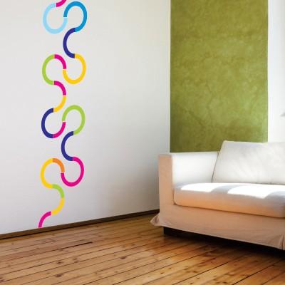 Adesivo Murale Linea Sinuosa Colorata