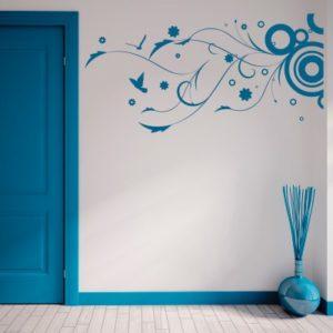 Adesivo Murale Vortice Astratto con Uccellini