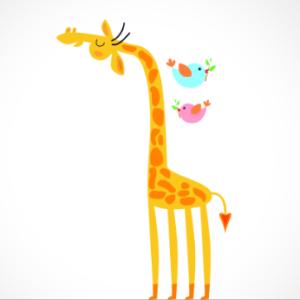 adesivo_murale_giraffa_uccellini