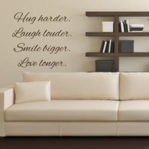 Adesivo Murale Hug Laugh Smile Love