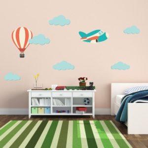 Adesivo Murale Nuvolette Aeroplanino e Mongolfiera