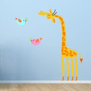Adesivo Murale Giraffa e Uccellini