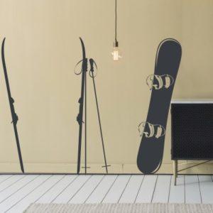 Adesivo Murale Sci e Snowboard