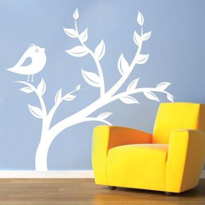 Adesivo Murale Rami con Uccellino