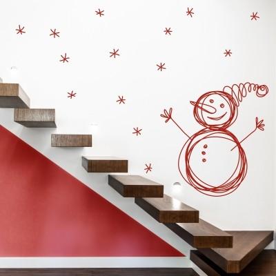 Adesivo Murale Pupazzo di Neve
