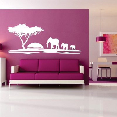 Adesivo Murale Elefanti al Tramonto