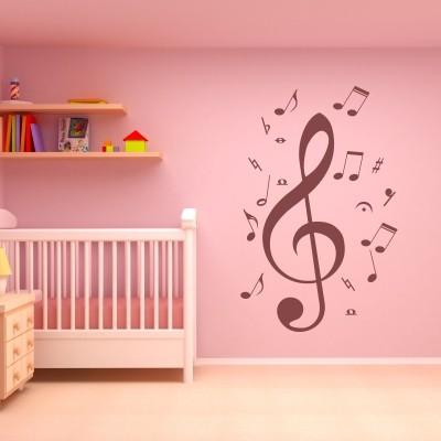 Adesivo Murale Chiave di Violino e Note Musicali