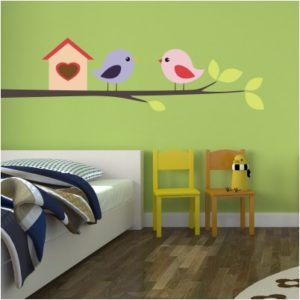 Adesivo Murale Casetta degli Uccellini sul Ramo