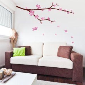 Adesivo Murale Ramo con Fiori Rosa
