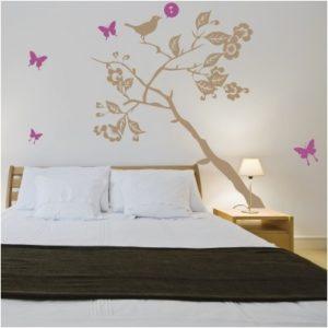 Adesivo Murale Albero in Primavera con Uccellini e Farfalle