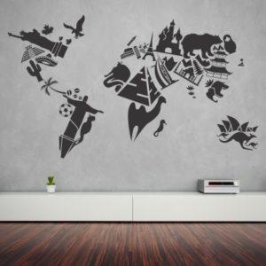 Adesivo Murale Mappamondo con Monumenti