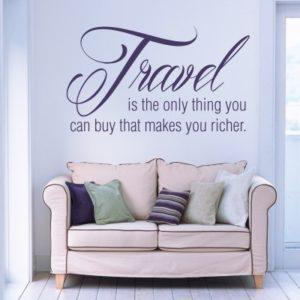 Adesivo Murale Travel Makes You Richer
