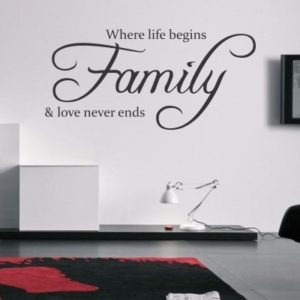 Adesivo Murale Where Life Begins Family And Love Never Ends