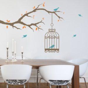 Adesivo Murale Uccellini sul Ramo