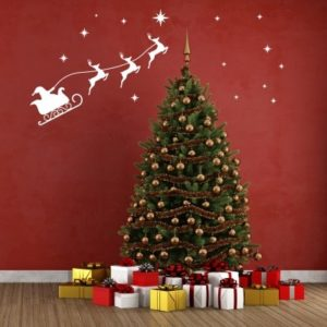 Adesivo Murale Babbo Natale sulla Slitta