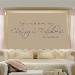 Adesivo Murale Coco Chanel Classy & Fabulous