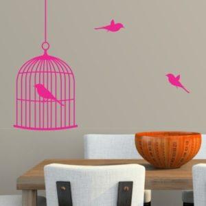 Adesivo Murale Uccellini e Gabbia