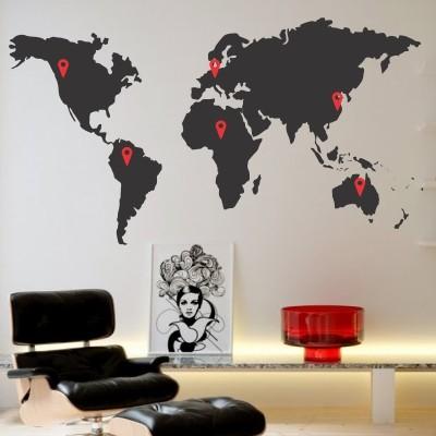 Adesivo Murale Mappamondo Continenti