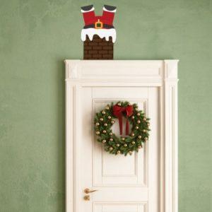 Adesivo Murale Babbo Natale nel Camino