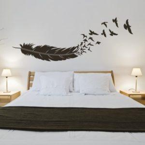 Adesivo murale Piuma e Uccelli