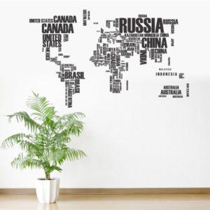 Adesivo Murale Mappamondo con Nomi Paesi