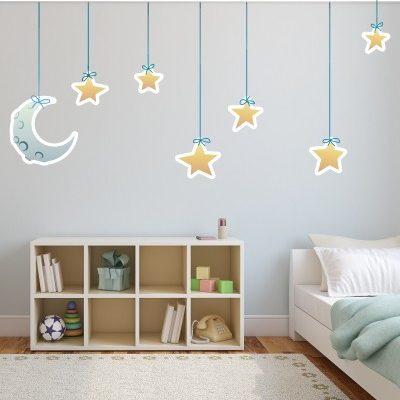Adesivo Murale Luna e Stelle