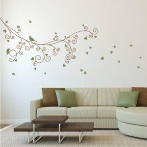Adesivo Murale Rami con Uccellini e Cuori
