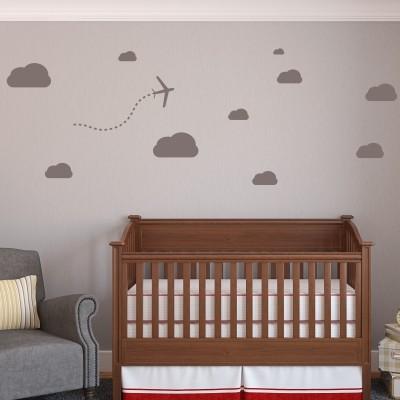 Adesivo Murale Aereo e Nuvole