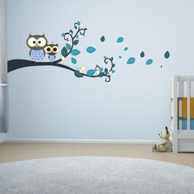 adesivo murale gufi camerette